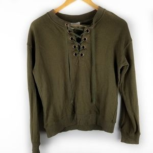 STORIA Womens Small Green Lace Up Sweater